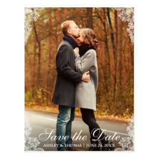 Save the Date Spitze-Grenzpaar-Foto-Postkarte L Postkarte