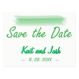 Save the Date Trendy unbedeutendes elegantes Grün Postkarte