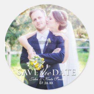 SAVE THE DATE Typografie-Hochzeits-Foto-Aufkleber Runder Aufkleber