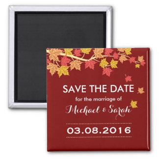 Save the Date verlässt roter Ahorn Hochzeit im Quadratischer Magnet