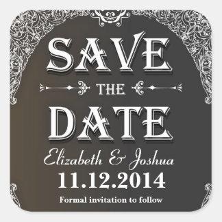 Save the Date Vintage Damastaufkleber Quadrat-Aufkleber