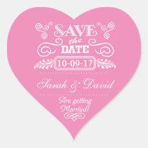 Save the Date Vintages Herz-Rosa Herz-Aufkleber