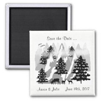 Save the Date WaldlandMoutain Rotwild-Hochzeit Quadratischer Magnet