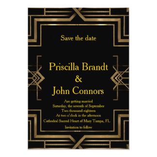 Save the Date Wedding, Schwarzes u. Gold, 12,7 X 17,8 Cm Einladungskarte