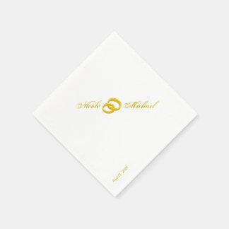 Save the Date - zwei Goldringe verflochten Serviette