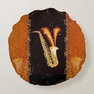 Saxophon mit Grundgedanken und Blumenelementen Rundes Kissen