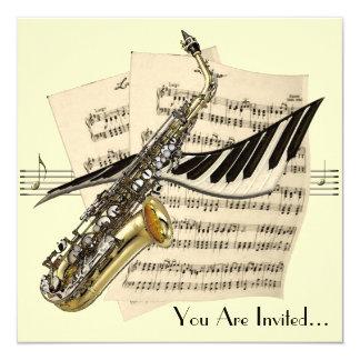 Saxophon-Musik-Entwurfs-Einladung Quadratische 13,3 Cm Einladungskarte