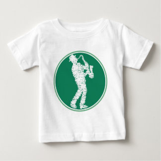 Saxophon player built with notes baby t-shirt