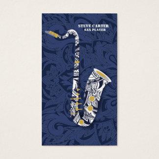 Saxophon-Saxophon-Spieler-Musik-Künstler-Karte Visitenkarte