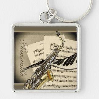 Saxophon-u. Klavier-Musik-Prämie Keychain Schlüsselanhänger