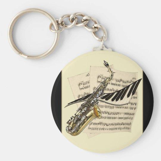 Saxophon-u. Klavier-Musik-Schlüsselring Schlüsselanhänger