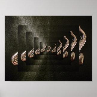 Saxophon zwei, das eine musikalische Anmerkung spi Poster