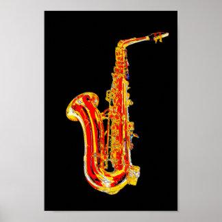 Saxophone-Cartoon Poster