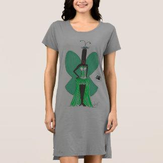 SBM PseudoBerühmtheits-Grün-Rüsche-Mode-T-Shirt Kleid
