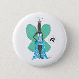 SBM Pseudoceleb-grünes/blaues Rüsche-Mode-Button Runder Button 5,7 Cm