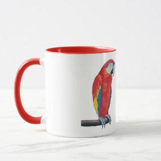 Scarletmacaw-Tier-rote Wecker-Kaffee-Tassen-Schale Tasse