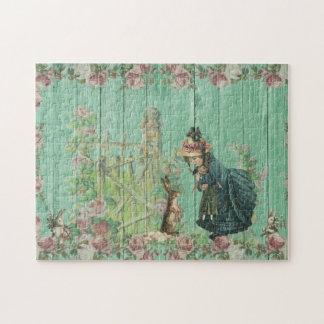 Scène rustique de lapin de Pâques peinte par cru Puzzles