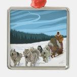 Scène Sledding de chien - Iditarod, Alaska Ornement Carré Argenté