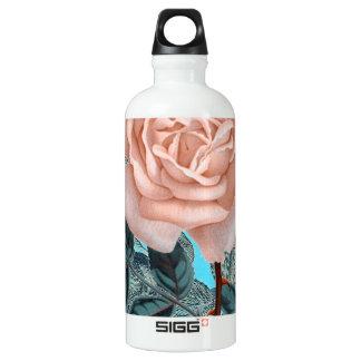 Schäbige Rose des Lachsrosas Wasserflasche