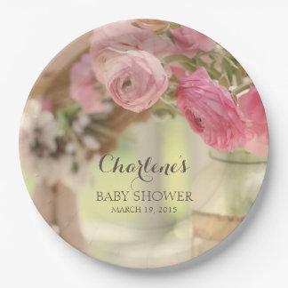 Schäbiges Landchic-Weiche verblaßte rosa Blumen Pappteller 22,9 Cm