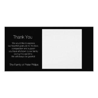 Schablonen-Beileid danken Ihnen - addieren Sie Individuelle Fotokarte