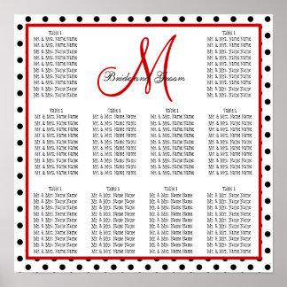 Schablonen-Hochzeits-Sitzplatz-Diagramm punktiert  Poster