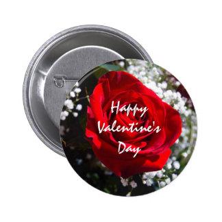 Schablonen-Knopf Rote Roseglücklicher Valentines Runder Button 5,7 Cm
