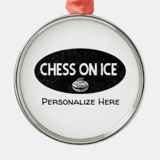 Schach auf Eis-kräuselnverzierung Silbernes Ornament