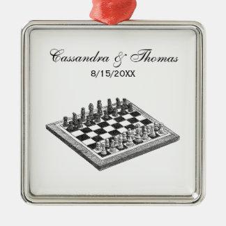 Schach-Brett-und Schach-Stück-Vintage Kunst Silbernes Ornament