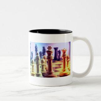 Schach-Spiel-Kaffee-Tasse Zweifarbige Tasse