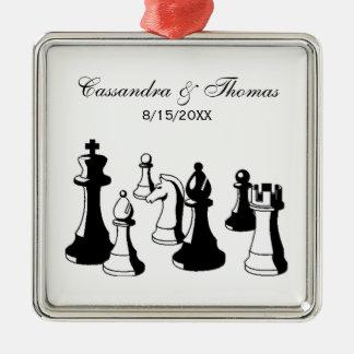 Schach-Stück-Vintage Kunst #2 Silbernes Ornament