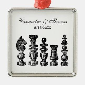 Schach-Stück-Vintage Kunst Silbernes Ornament