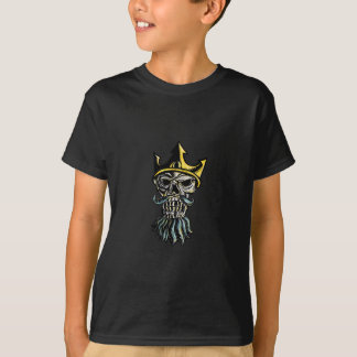 Schädel des Kronen-Kopf-Holzschnitts Neptun T-Shirt