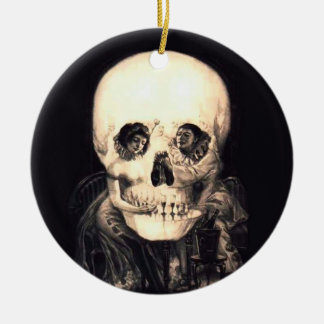 Schädel-Illusion Rundes Keramik Ornament