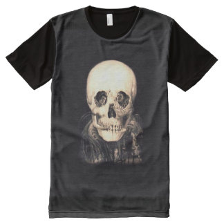 Schädel-Illusion T-Shirt Mit Komplett Bedruckbarer Vorderseite