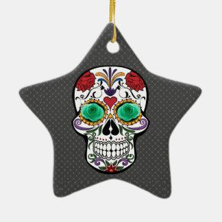 Schädel Keramik Stern-Ornament