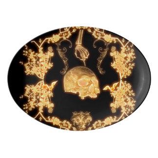 Schädel mit Blumen Porzellan Servierplatte