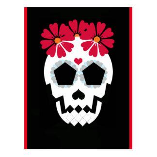 Schädel mit Blumen-Postkarte Postkarte
