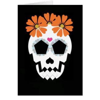 Schädel mit orange Blumen Karte