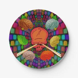 Schädel psychedelisch pappteller 17,8 cm
