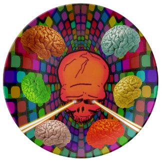 Schädel psychedelisch porzellanteller