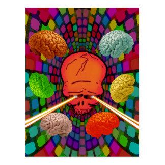 Schädel psychedelisch postkarte