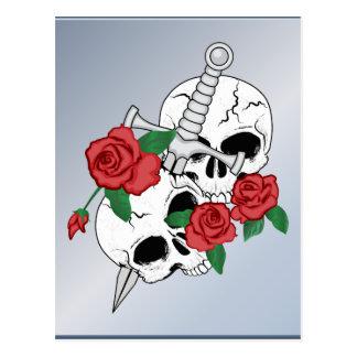 Schädel, Rosen und Dolch Postkarte
