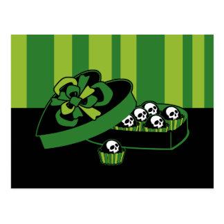 Schädel-Süßigkeits-Kasten Postkarte