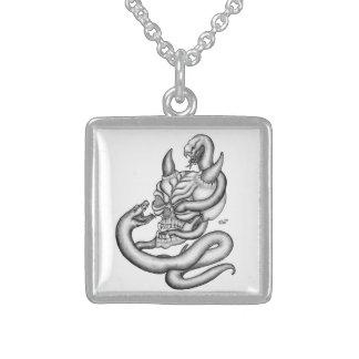 Schädel - Teufel-Kopf mit Schlange Sterling Silberkette