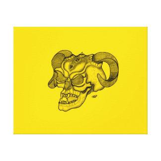 Schädel-Teufel-Kopf-schwarzer und gelber Entwurf Leinwanddruck