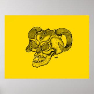 Schädel-Teufel-Kopf-schwarzer und gelber Entwurf Poster