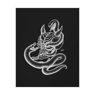 Schädel - Teufelköpfe mit Schlange Leinwanddruck