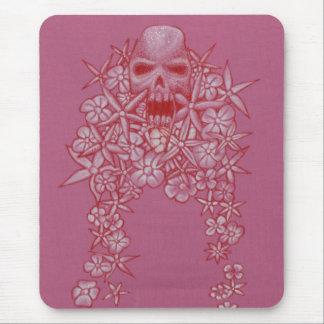 Schädel-und Blumen-Maus Matt Mauspad