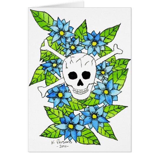 Schädel und gekreuzte Knochen mit Blumen Grußkarte